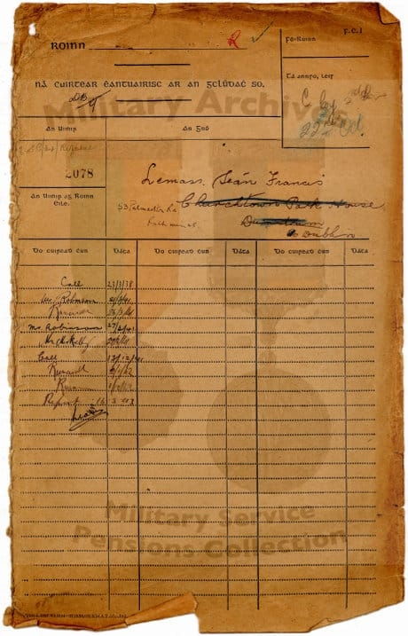 Lemass Military Service pension Collection form. 1941