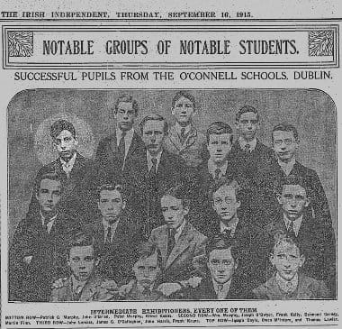 Lemass with his classmates in September 1915 having won a scholarship based on his results in maths.