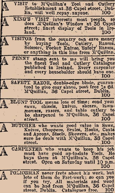 Advertisement for McQuillan's Tool and Cutlery Establishment.