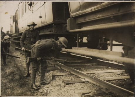 British soldiers searching trains on Kerry line for republicans. 1921