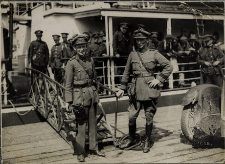 Major General Ennis (with Thompson gun) and Comdt. McCreagh disembarking from the Lady Wicklow at Passage West. 1922